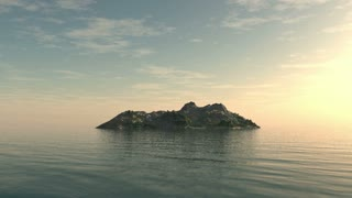 Fly around small isolated island for travel backgrounds