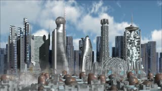 Fly through a Sci-Fi future city with metallic skyscrapers and aerial vehicles
