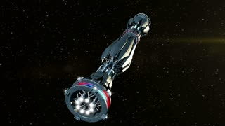 Futuristic military spacecraft initiating a warp drive and opening a wormhole, for alien fantasy games or science fiction backgrounds of interstellar deep space travel