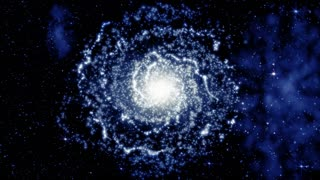 Galaxy rotating with cluster of stars, as animated deep space background