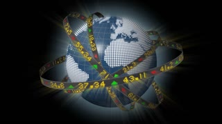Globe spinning with orbiting ribbons displaying shiny sliding stock market tickers