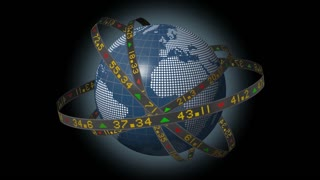 Globe spinning with orbiting stock market tickers