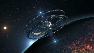 Interstellar spaceship, with triple gravitational rings and a central telecommunication structure, near   an alien planet, for futuristic or fantasy backgrounds