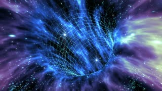 Loop animation with wormhole interstellar travel through a blue force field on a grid with galaxies and stars