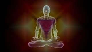 Man silhouette in enlightened yoga meditation pose with chackras symbols appearing in centers on the body with glowing auras