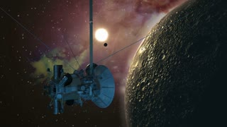 Satellite spacecraft similar with the unmanned Cassini Huygens Saturn orbiter, passing a moon-like planet