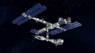Satellite Spacestation flying over Earth with reflective solar panels and modular architecture.