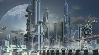 Skyline of science fiction city with metallic skyscrapers, hoovering aircrafts and a massive moon, for futuristic or fantasy architectural backgrounds