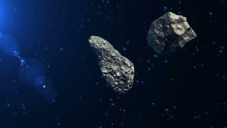 Two asteroids colliding and being pulverized on a space background