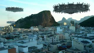UFO fleet, above buildings in Rio de Janeiro, Brazil, for futuristic, fantasy, interstellar travel or war-game backgrounds