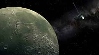 Unmanned spacecraft similar with the Cassini orbiter passing Moon
