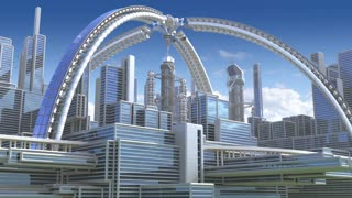 3D Animation of a futuristic city with an arched structure, highrise buildings and terraces, for architectural backgrounds.