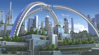 "3D Animation of a futuristic ""green"" city with an arched structure and high rise buildings with terraces covered in vegetation, for environmental architecture backgrounds."