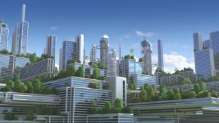 "3D Animation of a futuristic ""green"" city with high rise buildings and terraces covered in vegetation, for environmental architecture backgrounds."