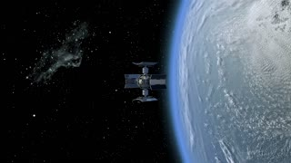 3D Animation of a space station satellite flying around Earth with reflective solar panels and an interchangeable modular structure.