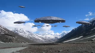 Alien spaceships flying in the Himalayan mountains, for futuristic, fantasy and interstellar travel or war game backgrounds.