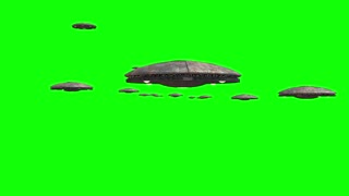 Green screen loop of alien spaceships flying in formation, for futuristic, fantasy and interstellar travel or war game backgrounds.