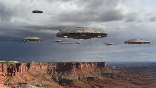 Loop of alien spaceships flying above the Grand Canyon, in Canyonlands National Park, Utah, USA, for futuristic, fantasy and interstellar travel or war game backgrounds.