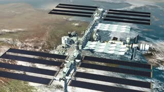 The International Space Station flying above Earth, with a close-up on the solar panels and its modular architecture.