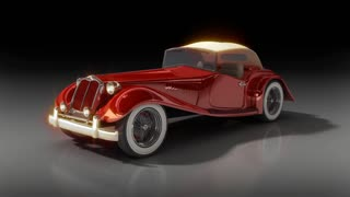 Vintage red car animation of convertible hot rod.