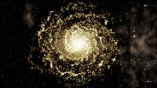 Yellow Galaxy rotating with cluster of stars, as animated deep space background