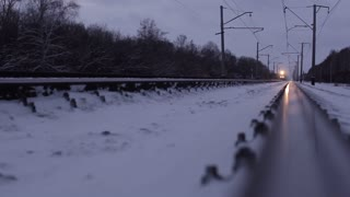 Electric train in motion in winter, Trans-Siberian Railway