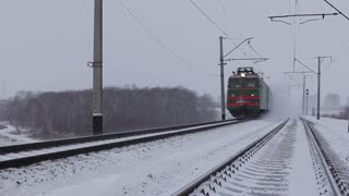 Freight train passing, Trans-Siberian Railway