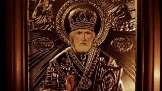 Orthodox Icon of Saint Nicholas In The Dark