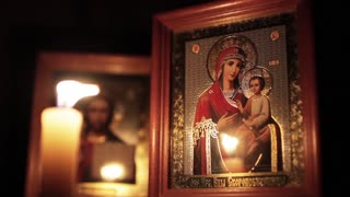 Orthodox icons and candle