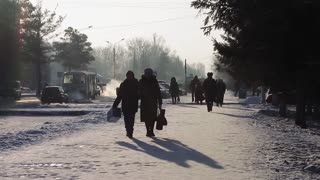People on the street in winter
