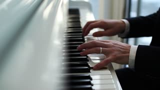 Pianist plays the piano, Fingers run over the keys, Musician plays the melody