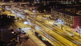 Time Lapse Of City Road Traffic at Night, Cars Moving On The Crossroad, Russia