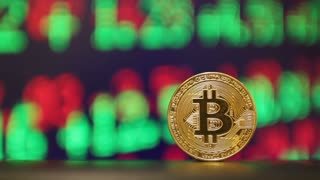 Financial concept with golden Bitcoins on forex chart background