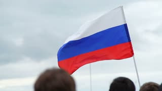 Russian flag flutters in the wind, Anti-corruption protests