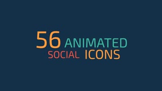 56 Flat Style Animated Social Icons