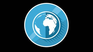 Blue Planet Flat Icon With Alpha Channel