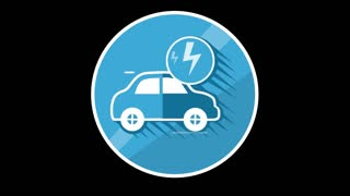 Electric Car Flat Icon With Alpha Channel