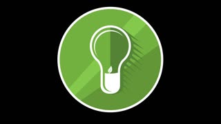 Green Lamp Flat Icon With Alpha Channel