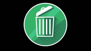 Trash Bin Flat Icon With Alpha Channel
