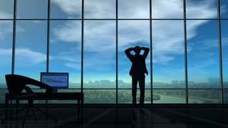 A businessman holds his head in his office when thunderclouds gather around him