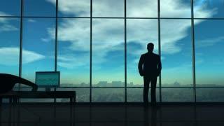 A businessman investigates a lot of corporate data