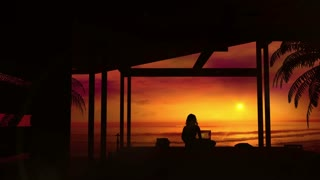 A girl with a laptop working at sunset