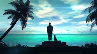 A lonely man with dog is looking at the green ocean