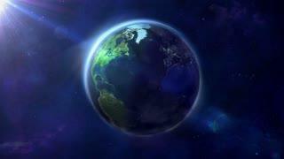 Looped animation of a half-illuminated globe