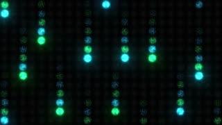 Meteorite rain on a blue-green wall of light