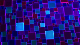 Neon Blue And Violet Lights Cubes Background In 4k