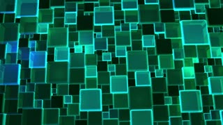 Neon Green Lights Cubes Background In 4k