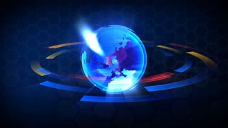"3D Computer generated globe animation. Suits for a ""news"" background. Multicolored version. Loops seamlessly."