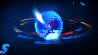 3D Computer generated globe animation. With word