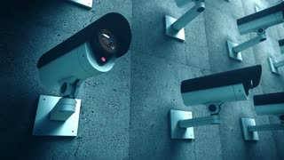 Animation of multiple Security cameras watching. Loop ready clip. Blue filter.